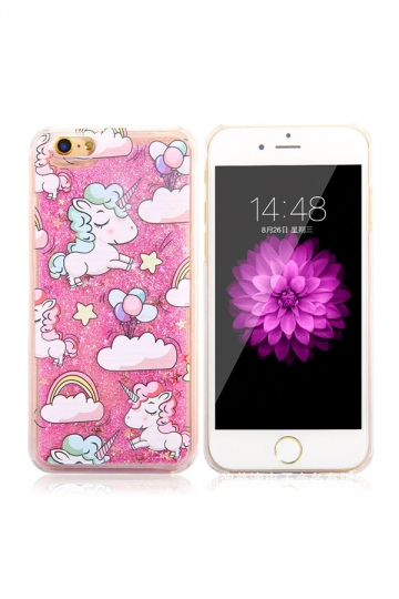 Pink Durable Soft Silicone Unicorn Printed Transparent Case for iPhone