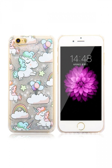 Silvery Durable Silicone Unicorn Printed Transparent Case for iPhone