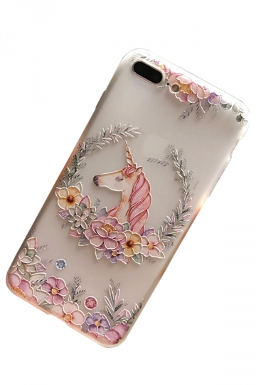 Pink Little Frosted Unicorn Printed Transparent Soft Case for iPhone