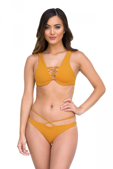 Womens Sexy Cut Out Bikini Top&String Swimwear Bottom Bikini Orange