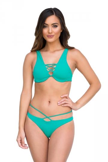 Womens Sexy Cut Out Bikini Top&String Swimwear Bottom Bikini Turquoise