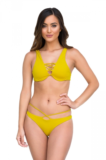 Womens Sexy Cut Out Bikini Top&String Swimwear Bottom Bikini Yellow