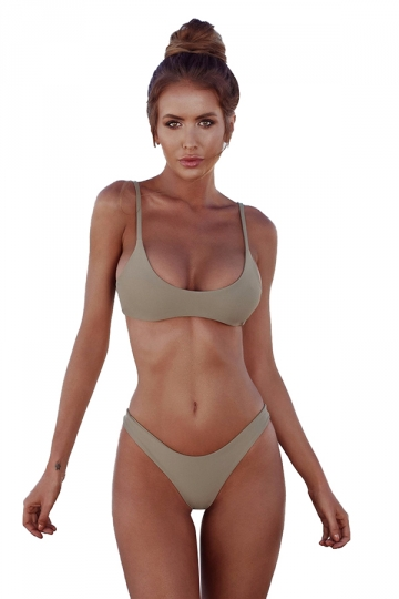 Womens Sexy Low Rise Top&Swimwear Bottom Two Piece Bikini Light Green