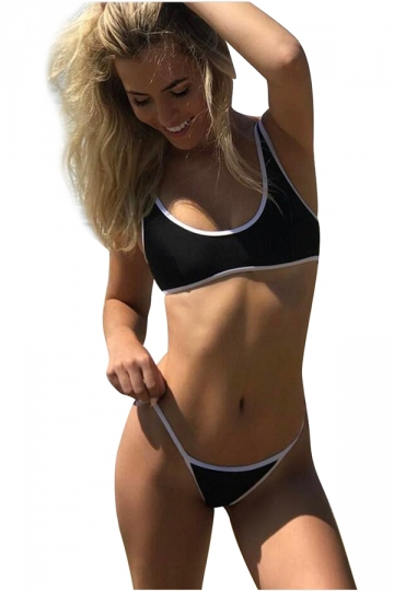 Womens Sexy Bandeau Top&String Swimwear Bottom 2 Piece Bikini Black