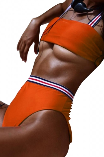 Womens Bandeau Top&High Waist Swimwear Bottom Stripe Bikini Set Orange