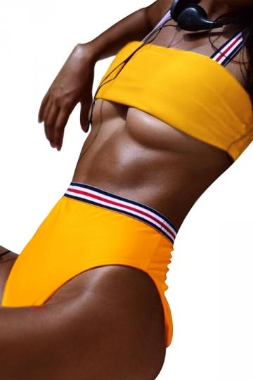 Womens Bandeau Top&High Waist Swimwear Bottom Stripe Bikini Yellow