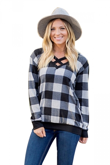 Womens Casual V-Neck Cut Out Long Sleeve Plaid Shirt Gray