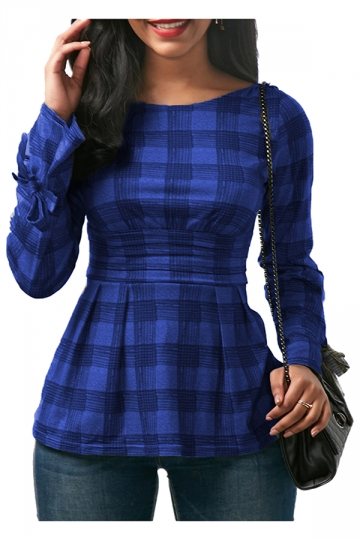 Womens Sexy Crew Neck Bandage Cut Out Back Bow Plaid Shirt Blue