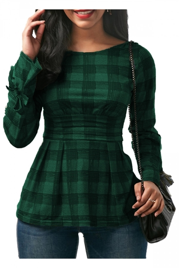 Womens Sexy Crew Neck Bandage Cut Out Back Bow Plaid Shirt Green