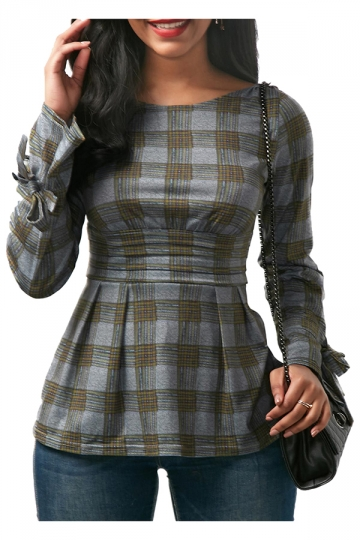 Womens Sexy Crew Neck Bandage Cut Out Back Bow Plaid Shirt Gray