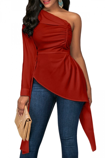 Womens Sexy Ruffle Asymmetric Hem Plain One Shoulder Top Red