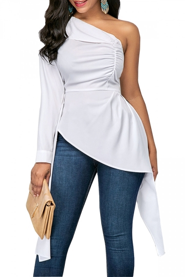 Womens Sexy Ruffle Asymmetric Hem Plain One Shoulder Top White
