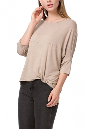 Womens Loose Crew Neck Batwing Sleeve High Low T-Shirt Apricot