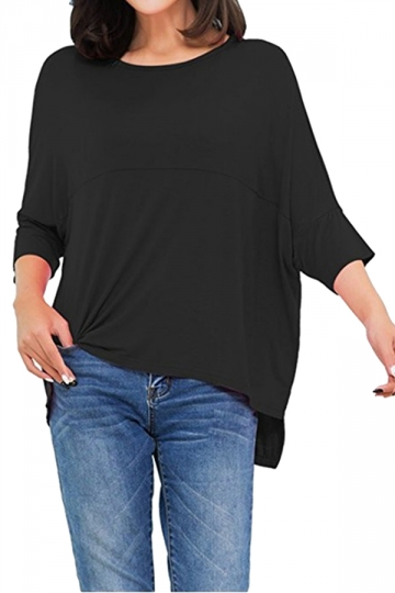 Womens Loose Crew Neck Batwing Sleeve High Low T-Shirt Black