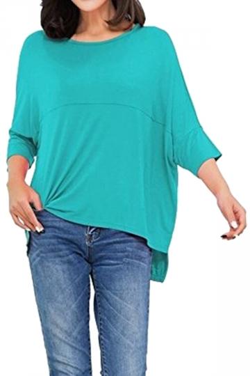 Womens Loose Crew Neck Batwing Sleeve High Low T-Shirt Light Blue