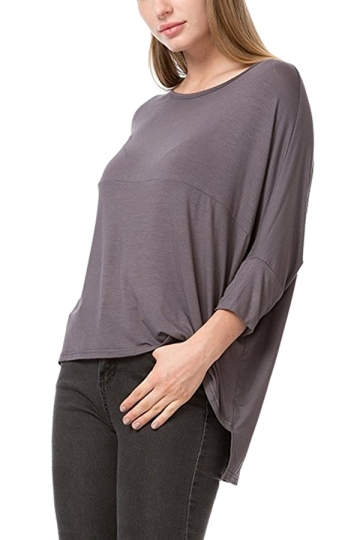 Womens Loose Crew Neck Batwing Sleeve High Low T-Shirt Light Gray