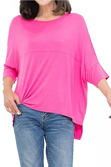 Womens Loose Crew Neck Batwing Sleeve High Low T-Shirt Rose Red
