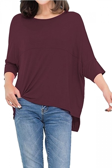 Womens Loose Crew Neck Batwing Sleeve High Low T-Shirt Ruby