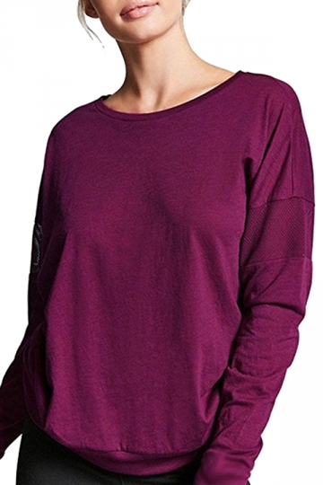 Womens Oversized Fishnet Crew Neck Long Sleeve Plain T-Shirt Purple