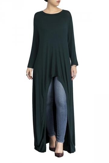 Womens Crew Neck High Low Asymmetric Hem Plain Maxi T-Shirt Green