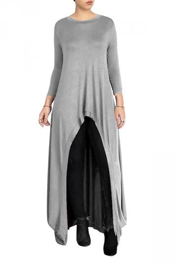 Womens Crew Neck High Low Asymmetric Hem Plain Maxi T-Shirt Gray