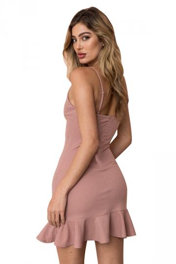 Womens Sexy Spaghetti Strap Ruffle Hem Backless Plain Tank Dress Pink