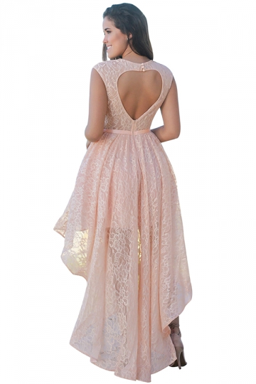 Womens Sexy High Low Lace Backless Sleeveless Evening Dress Pink