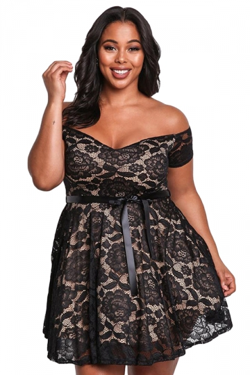 Womens Sexy Plus Size High Waisted Lace Off Shoulder Flare Dress Black