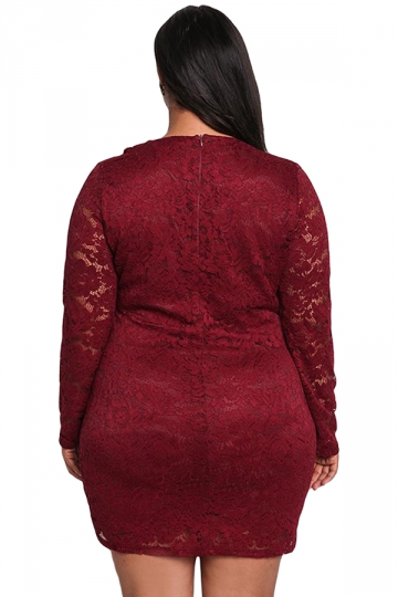 Womens Sexy Lace Long Sleeve Faux Wrap Ruffle Plus Size Dress Ruby