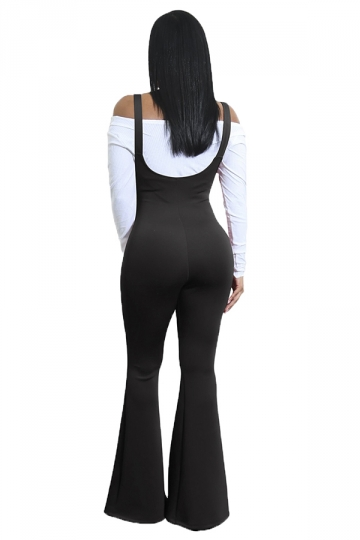 Womens High Waisted Strap Bell Pants Overalls Plain Jumpsuit Black