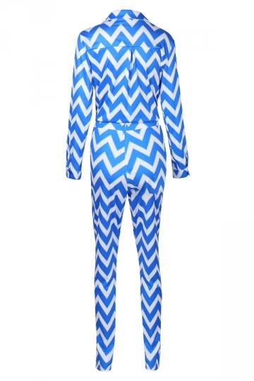Womens Sexy Turndown Collar Pocket Tie Wave Printed Leisure Suit Blue