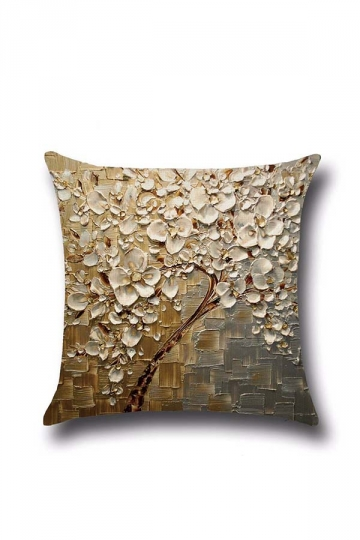 Stylish Oil Painting Flower Printed Throw Pillow Cover Gold 18x18in