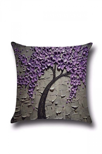 Stylish Oil Painting Tree Printed Throw Pillow Cover Purple 18x18in