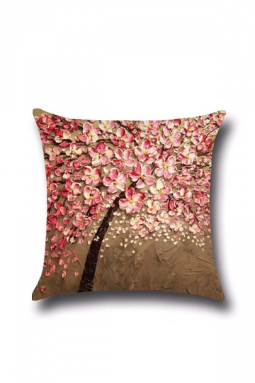 Cherry Blossom Printed Decorative Throw Pillow Cover Pink 18x18in