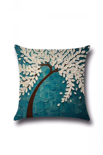Vivid 3D Tree Printed Decorative Throw Pillow Cover White 18x18in