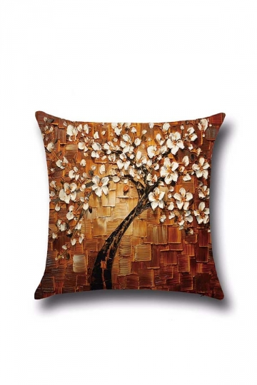 Stylish Oil Painting Tree Printed Throw Pillow Cover Yellow 18x18in