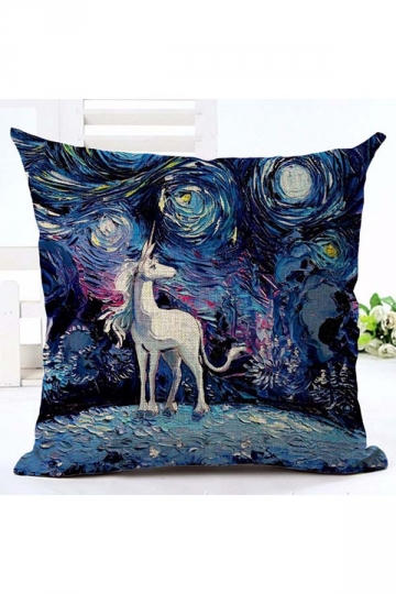Homey Oil Painting Unicorn Printed Throw Pillow Cover Blue 18x18in
