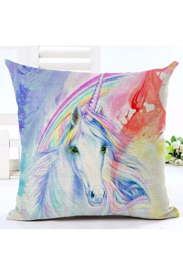 Homey Colorful Unicorn Printed Decorative Throw Pillow Cover 18x18in