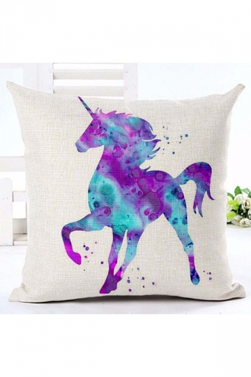 Homey Watercolor Unicorn Printed Throw Pillow Cover Purple 18x18in