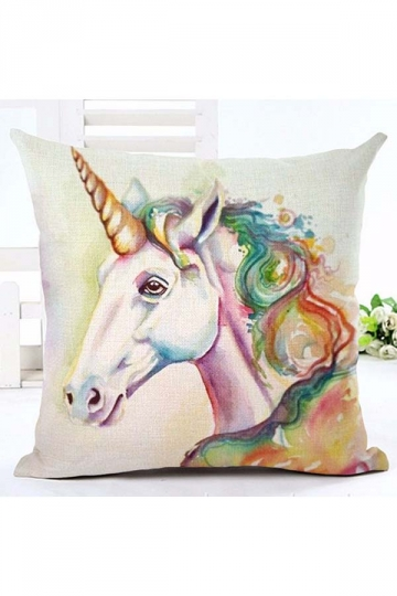 Homey Unicorn Printed Decorative Throw Pillow Cover White 18x18in