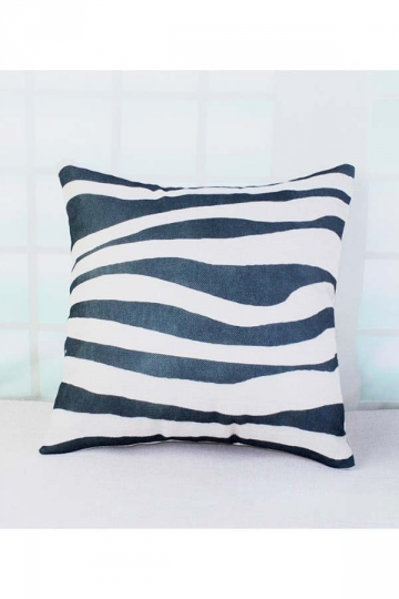 Soft Stripe Printed Decorative Throw Pillow Cover Black 18x18in