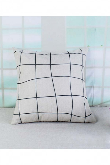 Soft Plaid Printed Decorative Throw Pillow Cover White 18x18in