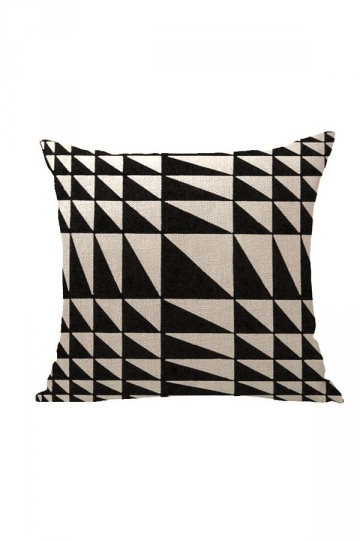 Geometric Pattern Printed Throw Pillow Cover Black And White 18x18in