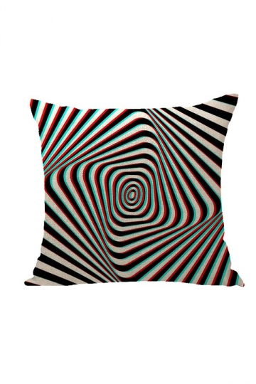 Stylish Geometric Pattern Printed Throw Pillow Cover Black 18x18in