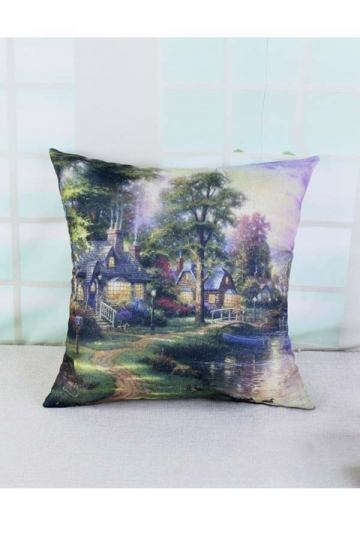 Homey Victorian Garden Printed Throw Pillow Cover Green 18x18in
