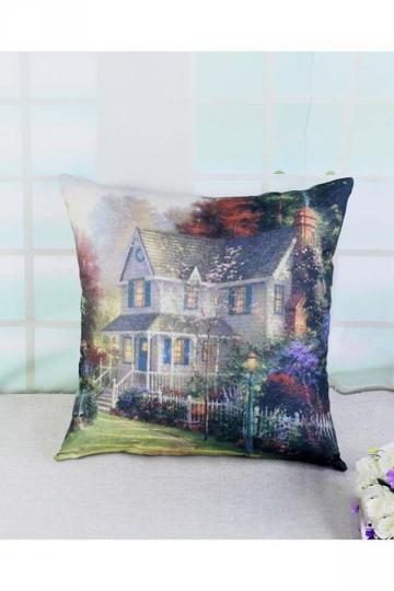 Homey Victorian Garden Printed Throw Pillow Cover 18x18in