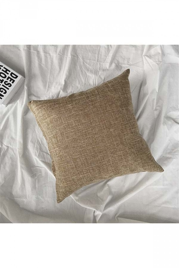 Homey Cozy Cotton Linen Plain Throw Pillow Cover Brown 18x18in