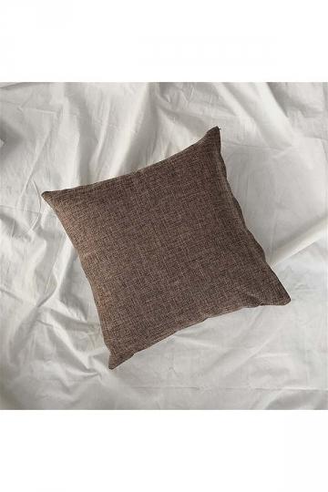Homey Cozy Cotton Linen Plain Throw Pillow Cover Coffee 18x18in