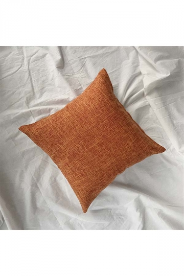 Homey Cozy Cotton Linen Plain Throw Pillow Cover Orange 18x18in