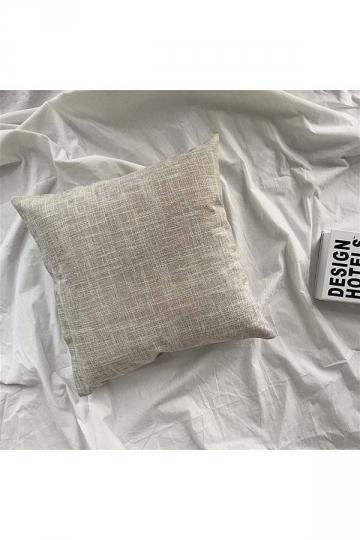 Homey Cozy Cotton Linen Plain Throw Pillow Cover Light Gray 18x18in